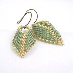 Aqua Russian Leaf Earrings . Beadweaving Earrings by blueskybeads, $32.00