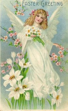 "Female Easter angels are a common motif in vintage cards. Could this be a memory of our lost Easter goddess? from ""Ēostre - Germanic Goddess or Bede's Invention?"" by Carolyn Emerick. www.carolynemerick.com."