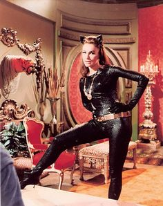 "Julie Newmar as Catwoman. Everyone in school watch ""Batman"" every week and you couldn't miss it as there were no VCR's let alone DVR's available."