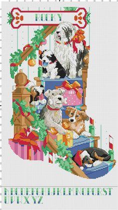 Puppy Christmas Stocking by Berwickbay on Etsy