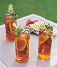 Homemade Pimm's  Based on its namesake spirit's flavors of gin, fruit and spice, this homemade version is mixed with sparkling lemonade for the perfect garden party punch