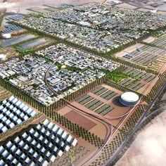 Abu Dhabi. Architectural rendering of Masdar City