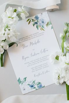 Soft Blue Floral Wedding Invitation