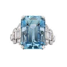 Raymond C. Yard Emerald-Cut Aquamarine & Diamond Ring. Aquamarine weighs 12.16 carats.