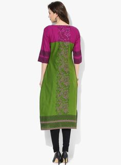 LadyIndia.com # Cotton Kurti, Attractive Printed Cotton Green Kurti For Women, Kurtis, Kurtas, Cotton Kurti, https://ladyindia.com/collections/ethnic-wear/products/attractive-printed-cotton-green-kurti-for-women