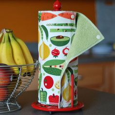 Ready-to-Ship - Reusable, Eco Friendly Snapping Paper Towel Set - Farmer's Market - Cotton and Terry Cloth. $52.00, via Etsy.
