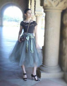 Grey tulle tutu skirt for women--lined in black satin with black satin waist.
