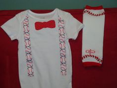 Baseball Baby Boy Onsie with Leg Warmers.... I like this but think the leg warmers are a little too girly