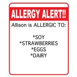 ~ ALLERGY ALERT LABELS ~                                        -- Customizable (allergy type, child's name, etc.), waterproof, and come in variety of colors so they're highly visible
