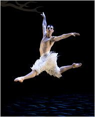 Jonathan Olivier as the Swan from the Matthew Bourne production of Swan Lake photo by Bill Cooper