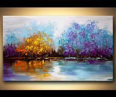 Original abstract art paintings by Osnat - lake view landscape painting palette knife