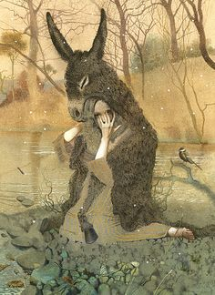 """Donkey Skin"" Written by Charles Perrault - illustration by Nadezhda Illarionova - A Fairy Tale From England (1695)"