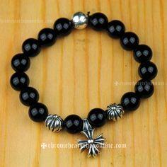 10 mm Black Onyx Chrome Hearts Bracelet With Cross Pendant [Chrome Hearts Bracelet] - $229.00 : Chrome Hearts Sale   Chrome Hearts Shop Online