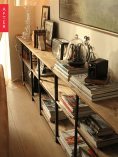 $14.99 HYLLIS shelf at IKEA 23 5/8 wide x 10 5/8 deep x  55 1/8 tall with stained plywood