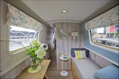 Blue Hue Canal Boat in Edinburgh for rent! Barge Interior, Yacht Interior, Best Interior, Canal Boat Interior, Sailboat Interior, Canal Barge, Narrowboat Interiors, Canopy And Stars, Houseboat Living
