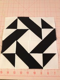 knit 'n lit: Modern Half-Square Triangle Quilt-A-Long Block 7