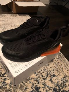 57d1fb23a966c3 Brand New Mens Nike Air Max 270 Black Black-Total Orange Size 12 (Goat  Verified)