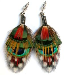 Peacock Feather Earrings with Posts all natural by wildspirits, $30.00