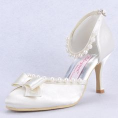 """Dyeable Fashionable 3"""" Pearls Bowknot Almond Toe D'orsay - Ivory Satin Wedding Shoes (11 colors) Slip-on, Block Heel, Ivory, White, Bowknot, Pearls, Almond Toe, Wedding, Satin Upper, Leatherette, Anti-skid Rubber Sole, US$66.98"""