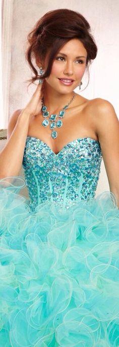 Turquoise | Aqua | dress, frills, embroidered top