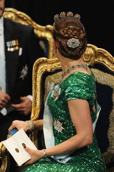 Crown Princess Victoria of Sweden wearing the Bernadotte emerald parure
