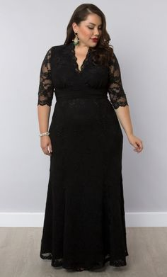 "Screen Siren Lace Gown by Kiyonna.  I have this dress.  It is stunning in person!   Comfortable and classic, and I was told I look ""perfect"" in it!"