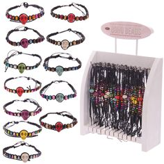 96 Pc Coloured Skull Woven Bracelets with Display Stand - 11086 | Puckator
