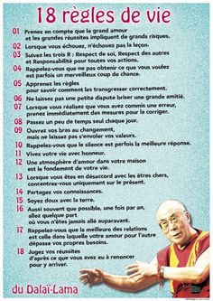 Aujourd'hui / les 18 règles de vie du Dalaï Lama: Today / the 18 rules of life of the Dalai Lama: Yoga Online, Alo Yoga, Usui Reiki, Material Didático, Burn Out, Quote Citation, French Quotes, Positive Attitude, Positive Affirmations