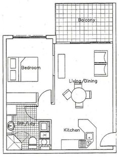 This is a nice simple floor plan for a one bedroom apartment  I   1 bedroom floor plans for apartment. One Bedroom Apartment Floor Plans. Home Design Ideas