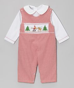 Take a look at this White Top & Red Gingham Santa Overalls - Infant by Sweet Dreams on #zulily today!