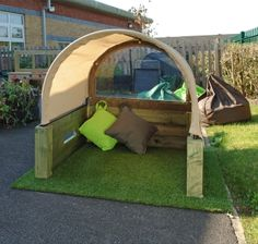 Our cosy den is a perfect way to create a permanent cosy area for babies and toddlers outside. A separate cover is available for wet weather.