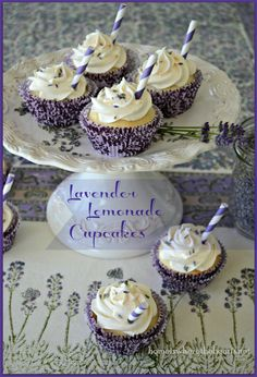 A quick & easy recipe for Lavender Lemonade Cupcakes, a boxed cake mix and frozen lemonade concentrate and dried culinary lavender #lavender