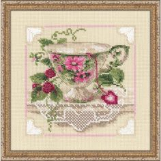 Raspberry Tea Counted Cross-Stitch Kit - Herrschners #vintage