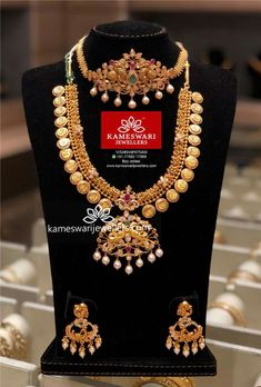 Indian Wedding Jewelry, Indian Jewelry, Bridal Jewelry, Indian Bridal, Latest Necklace Design, Necklace Designs, Gold Jewellery Design, Gold Jewelry, Gold Necklaces