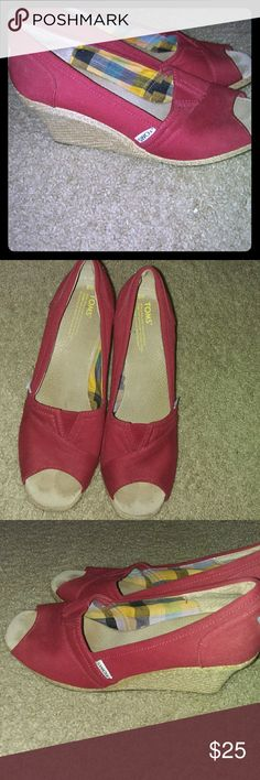 Toms red wedges Cute comfortable Toms wedges euc reposhing they just didn't fit :( nothing wrong with them as pictured perfect for dresses skirts or jeans and capris. Toms Shoes Wedges