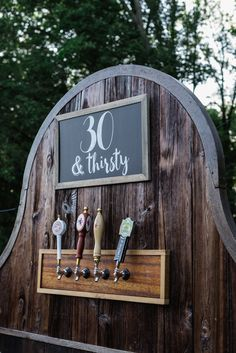 Thirty and Thirsty decor for a beer garden meets vintage boho chic decor. 30th Birthday Themes, 30th Birthday For Him, Beer Birthday Party, 21st Birthday Checklist, Surprise 30th Birthday, 30th Birthday Decorations, Thirty Birthday, 30th Party, Garden Birthday