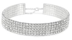 AmazonSmile: Rhinestone Choker 5 Row Silver by LuxeLife - Women's Crystal Look Necklace with 5 Inch Extender Chain - Classic Fashion Jewelry Accessories - Matches Earrings and Bracelets Flawlessly: Clothing