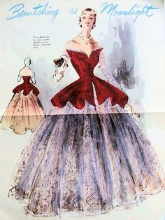 1950s MODES ROYALE 2PC EVENING GOWN DRESS PATTERN GORGEOUS STRAPLESS BONED TUNIC BLOUSE, FULL BALL GOWN SKIRT BREATHTAKING BEAUTIFUL