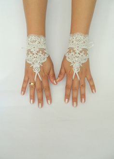 ivory lace Wedding  bridal gloves short lace glove by WEDDINGHome, $30.00