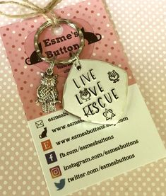 Excited to share the latest addition to my #etsy shop: #RescueOwl keyring ,rescue owl, happy owls, rescue owl gift, Hand Stamped Key Ring, #accessories #keychain #giftforher #esmesbuttons #handstamped