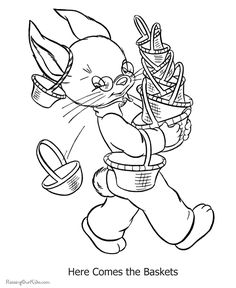 Vintage Free Easter Bunny Coloring Pages 98 Printable pages of Easter