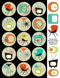 Retro Mid Century Designs Collage Sheet - Two Inch Circles - Digital Download - Printable