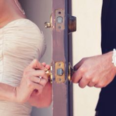 Cute pre wedding photo without breaking tradition. might also be cute if the bride and groom are exchanging words through the door before wedding without seeing each other :) Perfect Wedding, Dream Wedding, Wedding Day, Wedding Shot, Wedding Reception, Wedding Album, Trendy Wedding, Surprise Wedding, Quirky Wedding