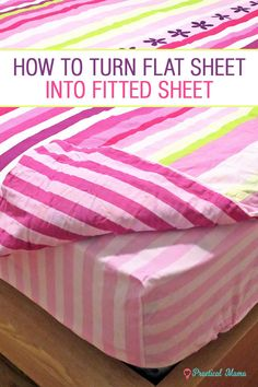 Flat bed sheets slip, but some duvet sets still have them. Turn your flat sheets into fitted sheets w/ 2 different methods: stylish or simple Sewing Fitted Sheets, Fitted Bed Sheets, Diy Bed Sheets, Old Sheets, Bed Sheet Sets, Sewing Hacks, Sewing Tutorials, Sewing Tips, Sewing Crafts