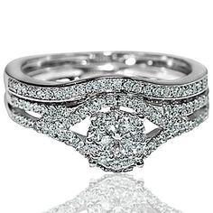 Brdial Wedding set Real diamonds 10K White gold .45CTTW Vintage inspired pave 2pc