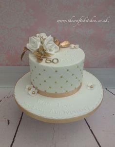 Golden Wedding Anniversary Cake One Tier