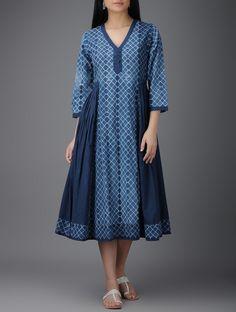Buy Indigo Ivory Shibori dyed Cotton Dress with Gathers Women Dresses Mood… Frock Fashion, Batik Fashion, Fashion Dresses, Indian Designer Outfits, Designer Dresses, Ikkat Dresses, Shibori, Frock For Women, Kurta Neck Design