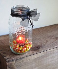 Half Gallon Halloween Mason Jar Candle by cattales on Etsy