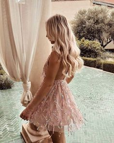 Multi Sequined Deep V Neck Mini Dress Women Summer Sexy Backless Cross Criss Beach Party Dresses Prom Outfits, Fashion Outfits, Beach Outfits, Dress Fashion, Prom Dresses, Nice Dresses, Casual Dresses, Prom Looks, Summer Dresses For Women