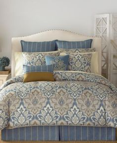 The Captain's Quarters queen comforter set from Croscill offers a distressed medallion print in hues of blue, ivory and taupe with rope-like accents for a hint of nautical flair. Bedroom Sets, Home Bedroom, Master Bedroom, Bedroom Decor, Damask Bedding, Luxury Bedding, Beige Bedding, Cream Bedding, Queen Comforter Sets